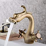 HONYGE LXGANG Creativa Forma de la Cabeza del dragón de Cobre baño Lavabo Grifo Home Hotel Caliente y fría Ajuste Espiral Mezclador Hermosa práctica Grifo