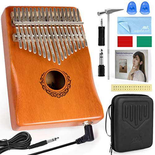 AKLOT 17 Keys Elektrische Kalimba, EQ Kalimbas Thumb Piano Marimba mit eingebautem Pickup Professional Kalimba Starter Set für Kinder Erwachsene Anfänger
