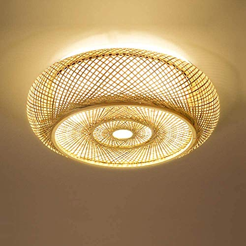 Nordic minimalistische slaapkamer Ceiling Ligh Vintage Handmade Rattan lampenkap Woonkamer Plafond van het Bureau Lamp Lantern Round Bamboo Lamp