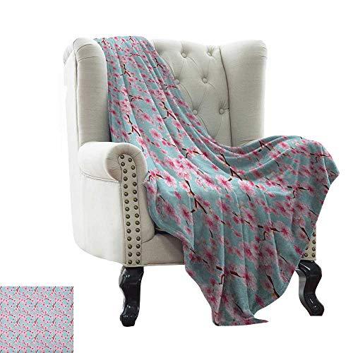 BelleAckerman - Manta de Ocio con diseño de Cerezo y Flores Decoradas a Mano, para jardín orgánico, Color Rosa rubí Blanco para Interiores y Exteriores, cómoda para Todas Las Estaciones