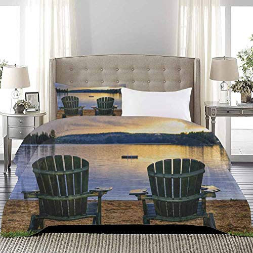 Duvet Cover Set Two Wooden Chairs on Relaxing Lakeside at Sunset Algonquin Provincial Park Canada Breathable Comforter Case Set Stain and Wrinkle Resistant, Breathable Navy Green, Full Size