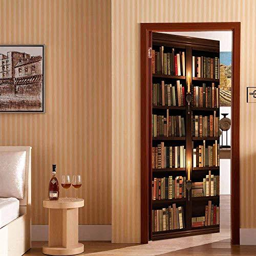 WANGWEIZHEN Adesivi Murali per Porte Murali in 3D Porte Murali Autoadesivi per Interni Adesivi Murali in Vinile Libreria di Studio Adesivo per Porta per La Decorazione Domestica 95X215CM