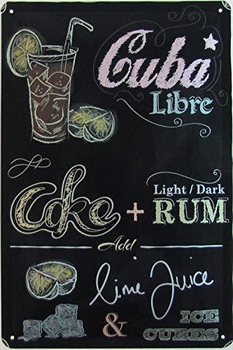 Blechschild 20x30cm gewölbt Rezept Cocktail Bar Cuba Libre Rezeptkarte Party Deko Geschenk Schild