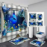 4Pcs Dolphin Shower Curtain Set for Bathroom, 3D Cute Sea World Animal Shower Curtain, Blue Ocean Fish Shower Curtain with Rugs and Mats Fabric Washable and Waterproof (71 Inch x 71 Inch)