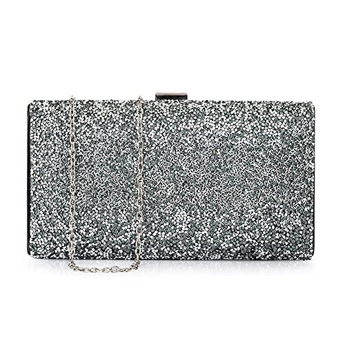 Ancdream - Bolso de mano de noche con diamantes de imitación para mujer, bolso de boda, bolso de fiesta de graduación, bolso de fiesta (Negro)