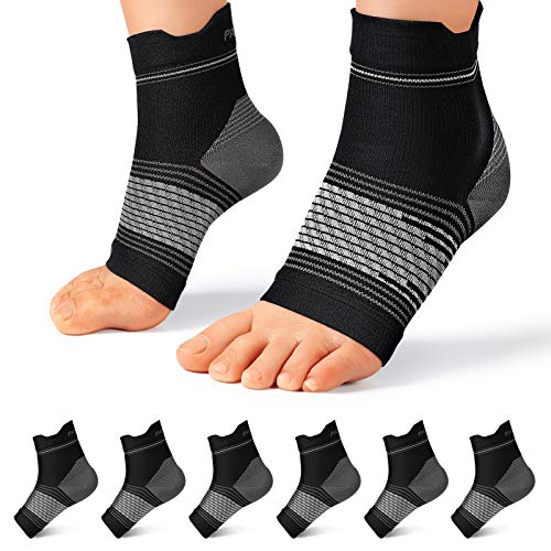 Plantar Fasciitis Sock (6 Pairs) for Men and Women, Compression Foot Sleeves with Arch and Ankle Support (Black, Large)