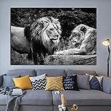 GJQFJBS Lion Poster Wild Animal Schwarz Und Weiß Malerei