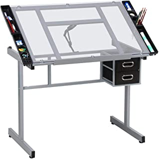 YAHEETECH Drafting Table Drawing Desk Art Desk Table Art Artist Craft Station Study Table Tempered Glass Top w/ 2 Slide Rolling Wheels and Drawers