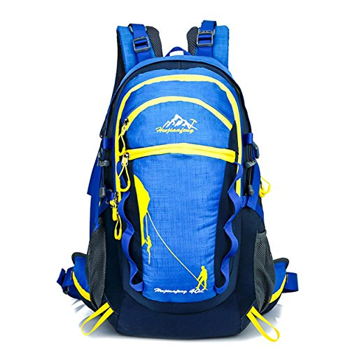 40L voyage nylon sac à dos Outdoor Sports grande capacité léger portatif sac à dos alpinisme randonnée cyclisme escalade multifonction Bag H52 x L28 x T20 cm , blue