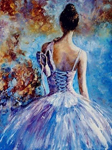 DAHUAJIA schilderen op nummers, knutselen, schilderen op cijfers, ballerina, doek, knutselen, olieverfschilderij, handbeschilderd, meisjes, muziek, decoratie thuis 40x50cm No Frame