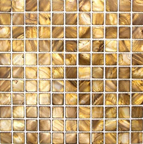 Mozaïek mozaïek parelmoer beige bruin tegelspiegel keukenwand MOS150-SM2569_f