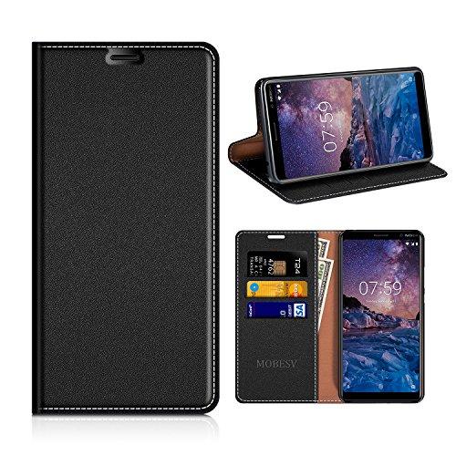 MOBESV Nokia 7 Plus Hülle Leder, Nokia 7 Plus Tasche Lederhülle/Wallet Hülle/Ledertasche Handyhülle/Schutzhülle mit Kartenfach für Nokia 7 Plus - Schwarz