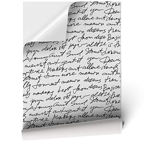 Papel Adhesivo de Vinilo para Muebles y Pared - 45x200cm - Texto Escrito a Mano, Fondo Blanco - Vinilo Resistente, Impermeable y Removible, VNL-012-M2
