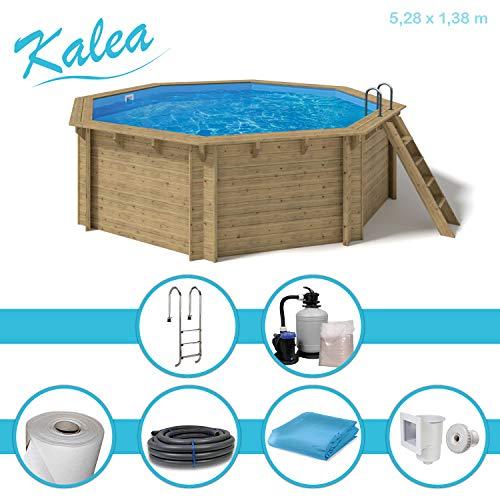 Paradies Pool® Holzpool Kalea Premium Komplettset inkl. Sandfilteranlage für 50er Verrohrung, Tiefbeckenleiter, Blaue Folie mit 0,6mm Stärke, Achteck-Pool, 528 x 138 (Ø x H), Menge: 1 Stück