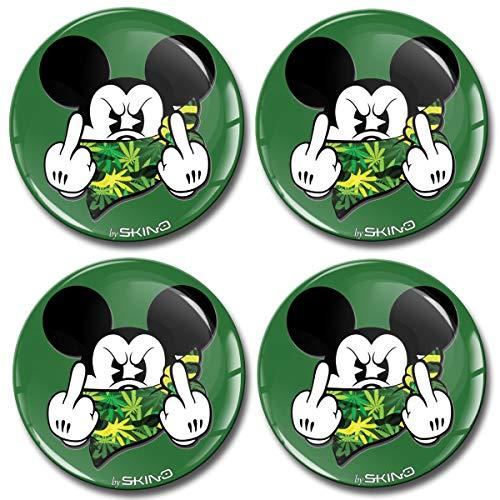Biomar Labs® 4 x 50mm Aufkleber 3D Silikon Mickey Mouse Micky Maus Mittelfinger Für Radkappen Nabenkappen Radnabendeckel Rad-Aufkleber Nabendeckel Grün A 3650