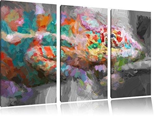 mooi panterkameleonFoto Canvas 3 deel | Maat: 120x80 cm | Wanddecoraties | Kunstdruk | Volledig gemonteerd