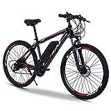 TDHLW Bicicleta Eléctrica de Montaña para Adultos de Gran Tamaño, 400W eBike 36V 8Ah / 10Ah Batería de Litio Extraíble Impermeable Bicicleta Eléctrica 7 Velocidades Doble Amortiguador,Rojo,29in