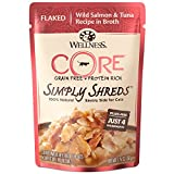 Wellness Core Simply Shreds Grain Free Wet Cat Food Mixer Or Topper, Flaked Wild Salmon & Tuna Recipe In Broth, 1.75-Ounce Pouch (Case Of...