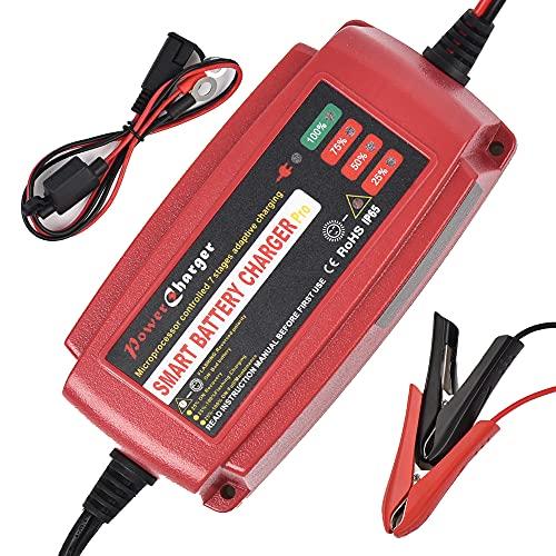 Cargador de batería Inteligente 12V 5A Mantenedor de batería portátil Cargador Lento de Carga rápida para automóvil, Barco, cortacésped, batería de Plomo ácido sellada Marina