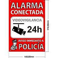 Tu Alarma SIN Cuotas | Cartel Alarma Conectada A5 Interior/Exterior | Placa disuasoria PVC Flexible, Cartel Aviso a Policía, 21x15 cm Rojo