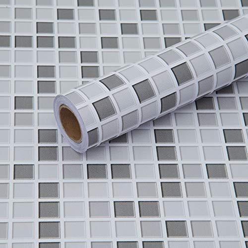 Fantasnight Fliesenaufkleber Mosaik Grau Weiß Fliesensticker 60 × 500 cm Mosaikfliesen Selbstklebende Folie für Bad und Küche Deko Fliesenfolie