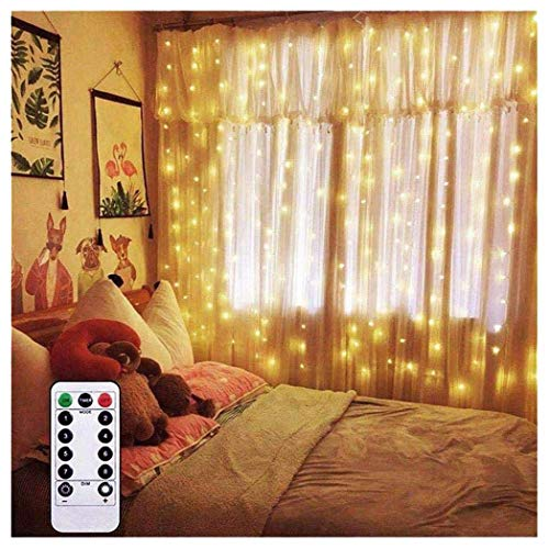AMARS Curtain Lights 6.5ft x 6.5ft Warm White Backdrop LED Window Fairy String Lights Battery Operated with 8 Modes Remote Control Timer for Bedroom Wedding Party Christmas Indoor Outdoor