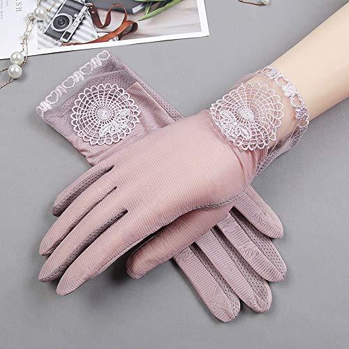 Uoyov Guantes atractivo de las señoras de la nueva manera de primavera y verano delgada Protección Solar Guantes primavera y el dedo guantes de encaje elástico y transpirable del cortocircuito del ver