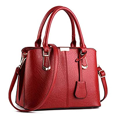 Purses and Handbags for Women Fashion Messenger Bag Ladies PU Leather Top Handle Satchel Shoulder Tote Bags (wine red) …