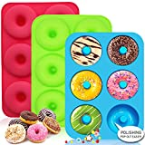 Walfos Silicone Donut Mold - Non-Stick Silicone Doughnut Pan Set, Just Pop Out! Heat Resistant, Make Perfect Donut Cake Biscuit Bagels, BPA FREE and Dishwasher Safe, Set of 3