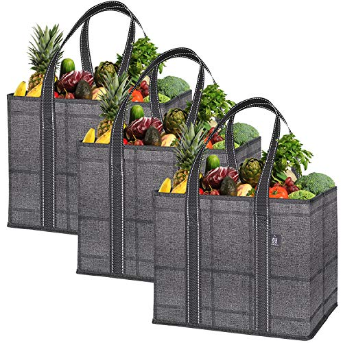 VENO 3 Pack Reusable Grocery Shopping Bag Storage Box Handy Premium Quality Heavy Duty Tote with Handles Reinforced Bottom Foldable Collapsible Made from Recycled Material Black/Windowpane