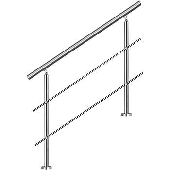 bis 2.0m inkl. 3 Pfosten ohne Querstange Edelstahl-Handlauf Gel/änder f/ür Treppen Br/üstung Balkon mit//ohne Querstreben