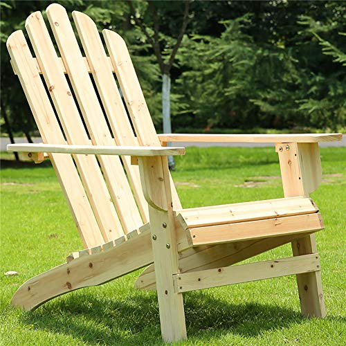 Adirondack Chair Outdoor Garden Armchair Reclining - Natural Wood with High Back, for Balcony, Patio Lawn Deck