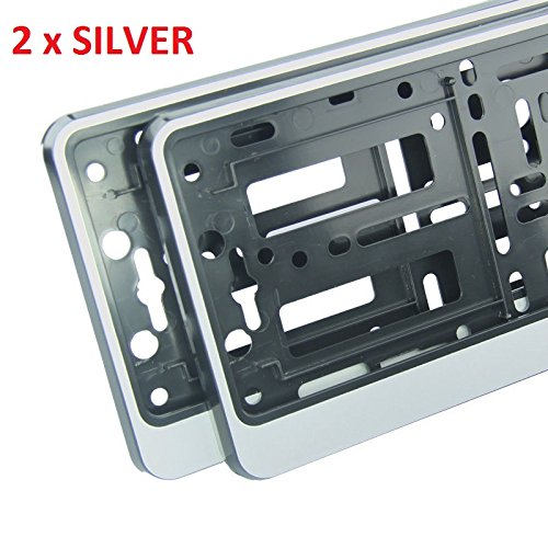 2 x silver effect Number Plate Surrounds Holder Frame ABS PC plastic RS 2