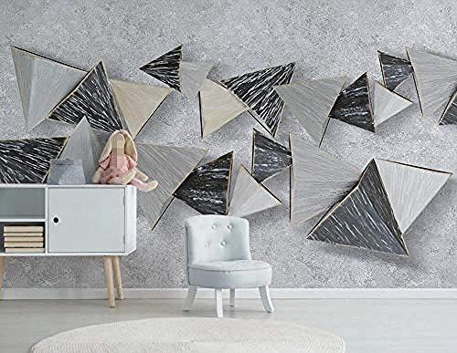 Behang 3D muur muurschildering voor woonkamer en slaapkamer muurschilderingen Home Wall Decoration Geometrische driehoek steen patroon grijs cement muur behang-430cm×300cm