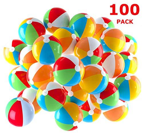 Pelotas de playa inflables de 5 pulgadas para la piscina, la playa, las fiestas de verano, los regalos y las decoraciones | Paquete de 100 Mini Blow up Bolas de Playa de Color Arcoiris (100 Bolas)