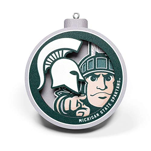 YouTheFan NCAA Michigan State Spartans 3D Logo Series Ornament, Team Colors