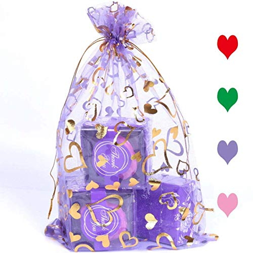 AiXiAng 20Pcs 7.8'x11.8' Drawstring Organza Pouch Strong Wedding Favor Gift Bags Organza Mauve Color Bags Gold Heart Pattern for Wedding Favors