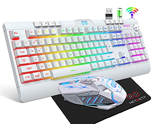 HETOETF Wireless Gaming Keyboard and Mouse,Rechargeable Backlit Keyboard Mouse with 4000mAh Battery,Mechanical Feel Gaming Keyboard,7 Color Gaming Mute Mouse,Gaming Mouse Pad for PC Gamers(White)