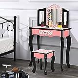 Bonnlo Kids Vanity Set, Princess Vanity Table with Stool, Tri-Folding Mirror Desk for Girls Makeup Dressing Table with Drawer Play Vanity Set