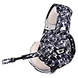 Gcputao Ps4 Gaming Headset Pink Surround Sound Bass Pc Casque avec Mic LED pour Xbox One/Téléphone/Tablette Portable Gamer Camouflage