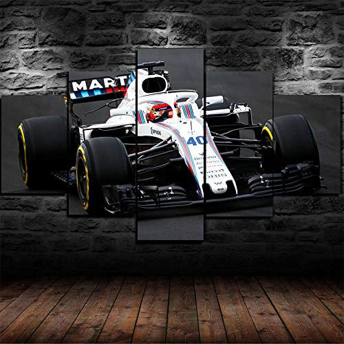 IKDBMUE Cuadro sobre Lienzo - 5 Piezas - Robert Kubica F1 Williams - Ancho: 150cm, Altura: 80cm - Listo para Colgar - en un Marco