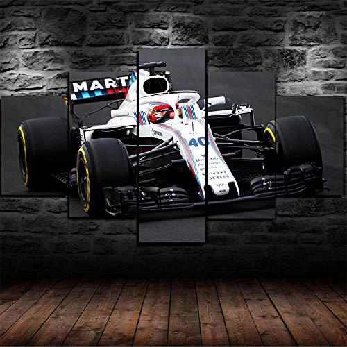 72Tdfc Decoración De Pared Cartel para Sala De Estar Moderno HD Impreso 5 Paneles Pared Arte Hogar Decoración Lienzo Pinturarobert Kubica F1 Williams