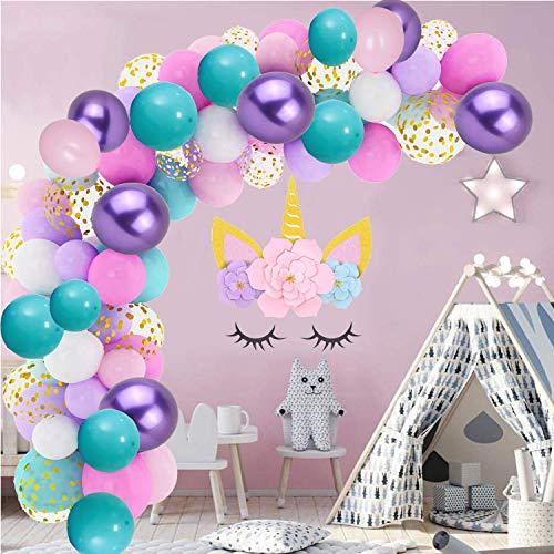 115pcs Unicorn Balloons Arch & Mermaid Balloons Garland Kit (Gold Confetti White Light Purple Pink Mint Green Latex Balloons Set) for Wedding Baby Shower Unicorn Mermaid Birthday Party Decorations