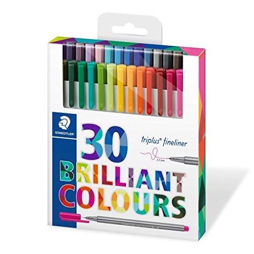 Staedtler Triplus Fineliner - Set di 30 pennarelli, colori assortiti