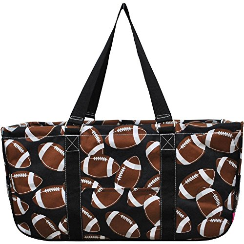 N. Gil All Purpose Open Top 23' Classic Extra Large Utility Tote Bag 3 (Football Black), X-Large