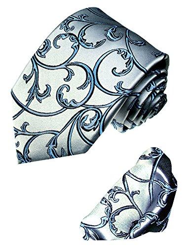 Lorenzo Cana - Marken Set aus 100% Seide : Krawatte mit Eintstecktuch - silber grau blau Ranken - Krawattenset - 8429702