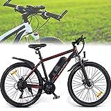 DDCHH Bicicleta Eléctrica Plegable, Bicicleta Montaña Adulto, 500W Fat Tire Nieve Bicicleta Sin escobillas Motor, 36V 10Ah Batería Extraíble, 21 Velocidades, 35km/h, 80km Kilometraje,Black