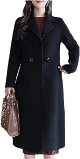Macondoo Women Fall Winter Outwear Notch Lapel Wool Blend Pea Coats