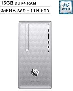 HP 2019 Pavilion 590 Desktop (Intel Quad Core i3-8100 3.6 GHz, 16GB DDR4 RAM, 256GB SSD (Boot) + 1TB HDD SSD, Intel UHD Graphics 630, Bluetooth, HDMI, DVD, Windows 10 Home) (Renewed)