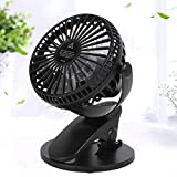 USB Charging Interface, Cooling Fan, Fan with Clip, 6-16 Working Hours 360 Degree Circulation Air Supply, for Home or Office Students Living Rooms Family